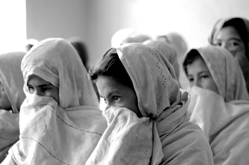 Afghan girls at school