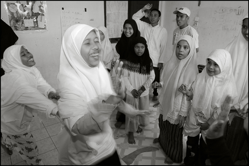 Girls having fun during a game at an orphanage in Banda Aceh Indonesia