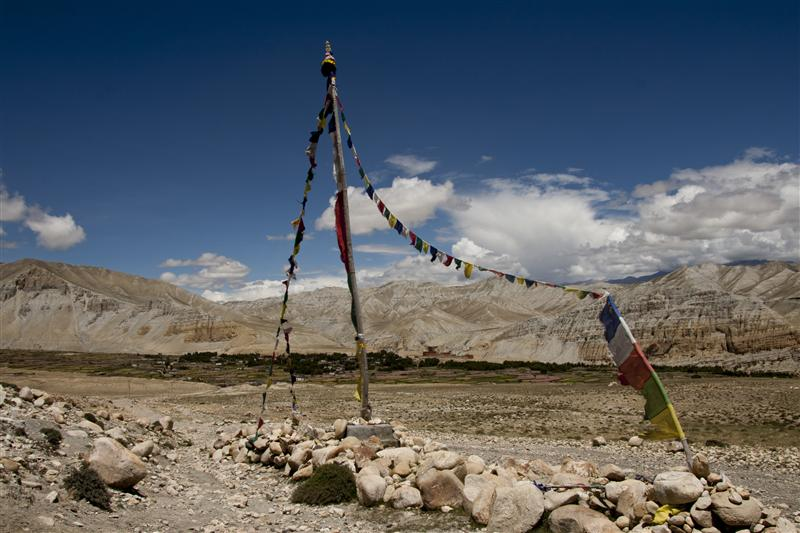 Lobas still believe earth is flat. This picture is a glimpse of the region and locals religious affinity that shows prayer flags.