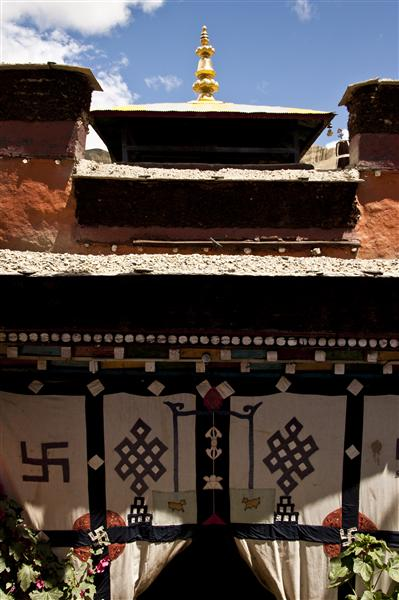 One of the traditional look of a Buddhist temple in the heart of a village in Upper Mustang