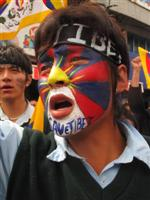 Tibetan flag painted on Face