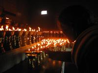 Butter cup lamps during the Tibetan prayer