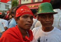 NLD supporters in the street of Rangoon