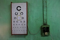 Eye chart in the clinic at Hakha Eye Centre