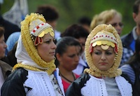 Young Gorani women in traditional costumes.