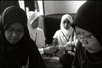 Students from the Fajar Hidayah organization from Singapore at an orphanage in Banda Aceh