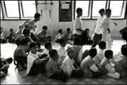 Boys start preparing for the midday prayer at an orphanage in Banda Aceh Indonesia