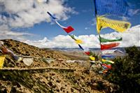 Tibetan prayer flags are almost pass on the route to every various villages in the region.