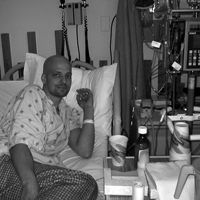 Steven waiting for a stem cell transplant.